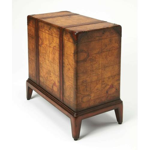 Regal and functional, this chairside table is a unique piece that will be admired by all. Crafted from select solid woods and wood products, this table boasts a laminated old world map surface with glaze and lacquer. The leather handle drawers open to rev