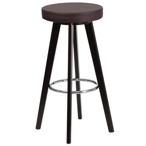 29'' High Contemporary Cappuccino Wood Barstool with Brown Vinyl Seat