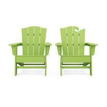 View Product - Wave 2-Piece Adirondack Chair Set with The Crest Chair in Lime