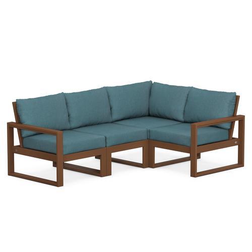 Polywood Furnishings - EDGE 4-Piece Modular Deep Seating Set in Teak / Ocean Teal