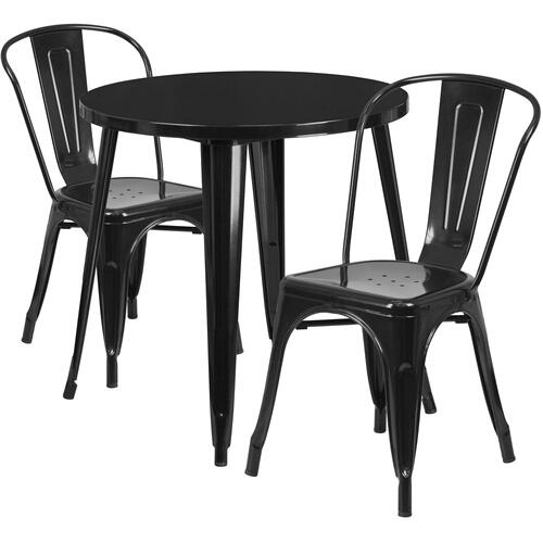 30'' Round Black Metal Indoor-Outdoor Table Set with 2 Cafe Chairs