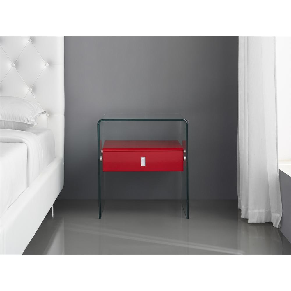 See Details - The Bari Nightstand In High Gloss Red Lacquer With Glass