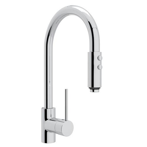 Ls59lapc2 In Polished Chrome By Rohl In Irvine Ca Polished Chrome Pirellone Side Lever Pull Down Kitchen Faucet With Pirellone Metal Lever