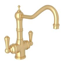 Edwardian Filtration 2-Lever Bar and Food Prep Faucet - Satin English Gold with Lever Handle