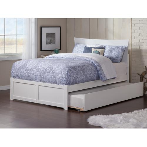 Metro Full Flat Panel Foot Board with Urban Trundle White