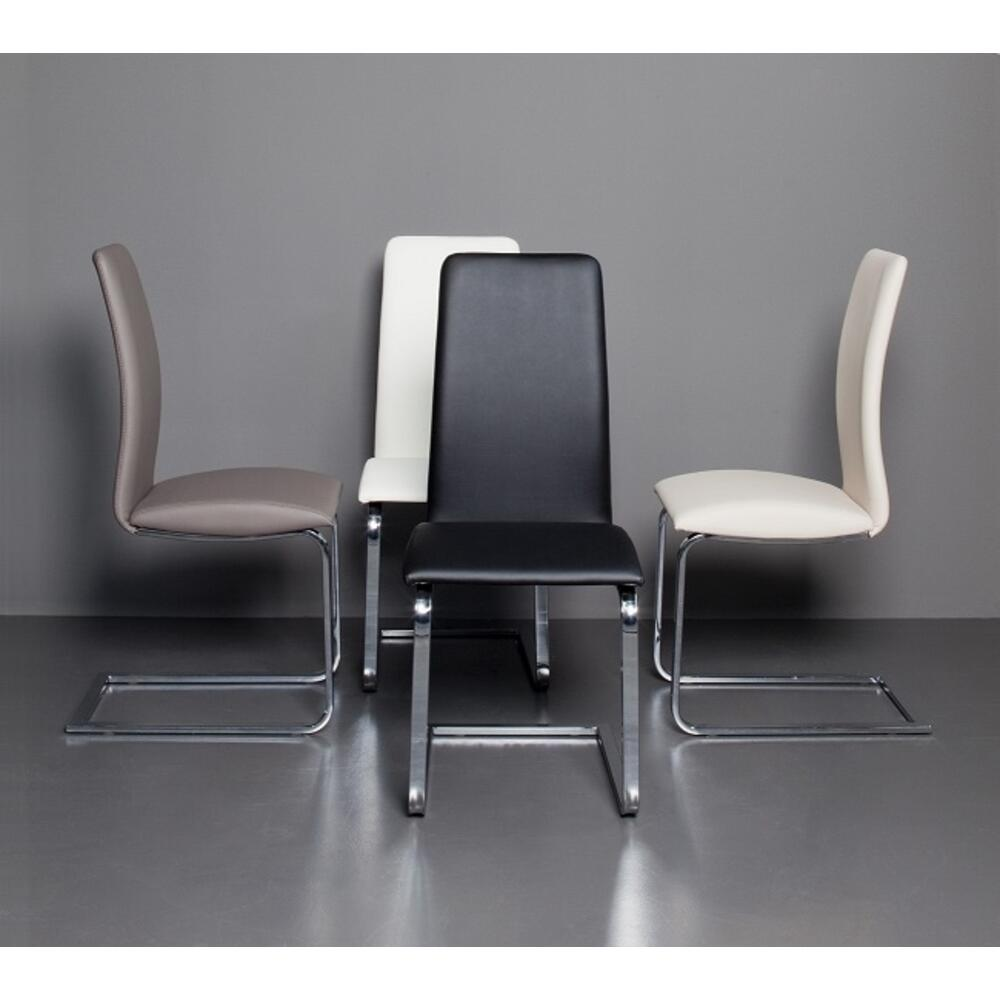 The Murano Dining Chair In White Pu-leather With Chrome Plated Base