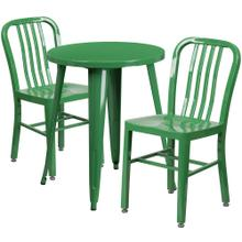 24'' Round Green Metal Indoor-Outdoor Table Set with 2 Vertical Slat Back Chairs