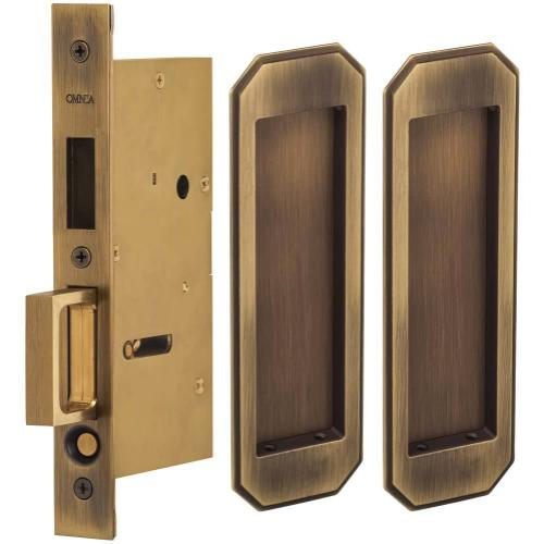 Product Image - Pair Dummy Pocket Door Lock with Traditional Rectangular Trim featuring Mortise Edge Pull in (US5 Antique Brass, Lacquered)
