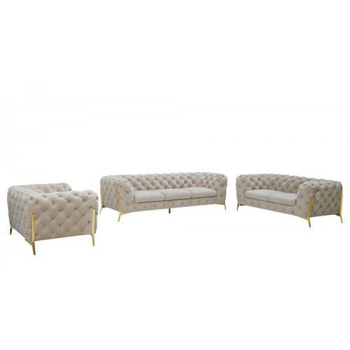 VIG Furniture - Divani Casa Quincey - Transitional Beige Velvet Sofa Set