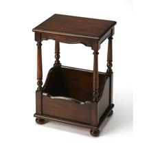 This stately Plantation Cherry finished end table is the perfect chairside or bedside companion. Crafted from rubberwood solids and wood products with choice cherry veneers, it boasts four beautifully turned posts and bun feet. Its handy lower storage com
