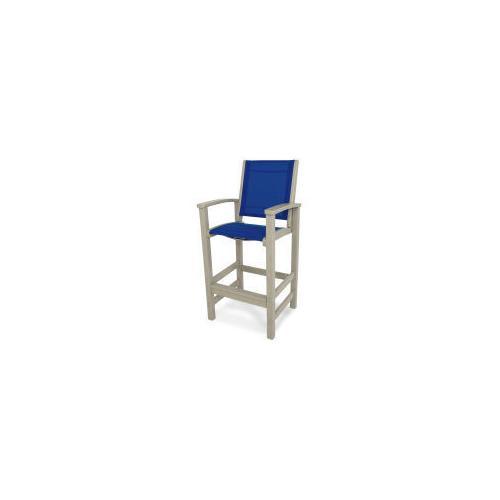 Polywood Furnishings - Coastal Bar Chair in Sand / Royal Blue Sling