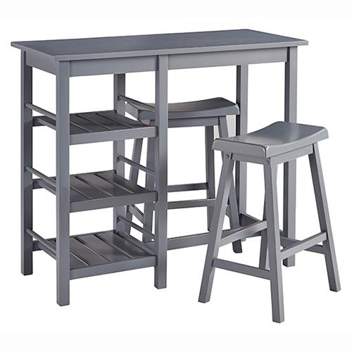 Counter Table \u0026 2 Stools - Distressed Gray Finish