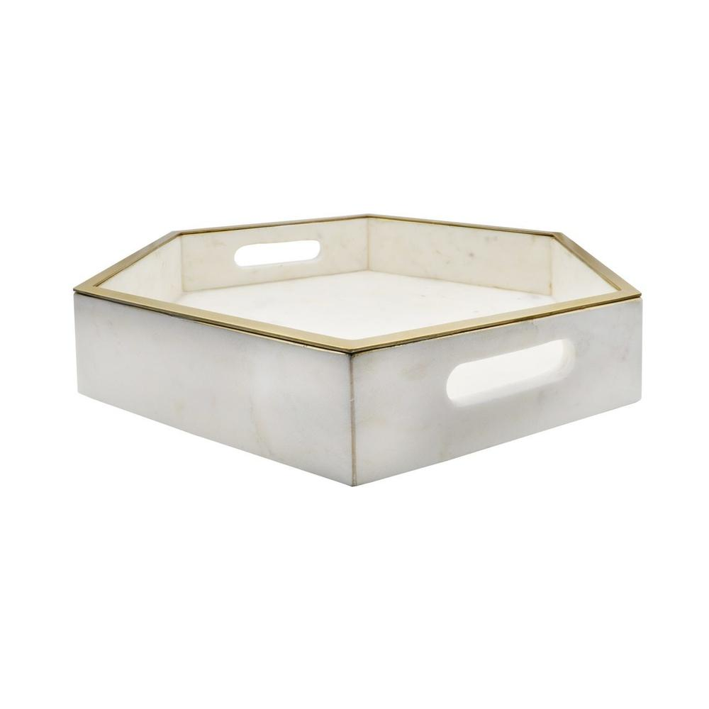 Simply Luminous! This White Marble Tray With Brass Lining Is A Designer Favorite for Styling Nearly Any Surface - From Bar Carts, To Coffee Tables, To Counter Tops and Beyond, We Can't Wait To See Your Vision Come To Life With Banks.