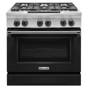 KitchenAid36'' 6-Burner Dual Fuel Freestanding Range, Commercial-Style Imperial Black