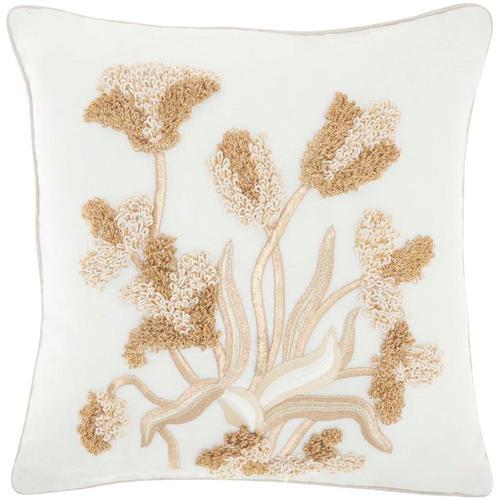 """Sofia Pn082 Ivory Gold 18"""" X 18"""" Throw Pillow"""