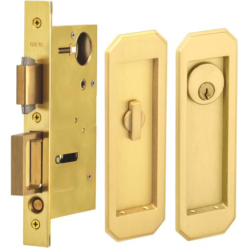 Pocket Door Lock with Traditional Trim featuring Turnpiece and Keyed Entry in (US4 Satin Brass, Lacquered)