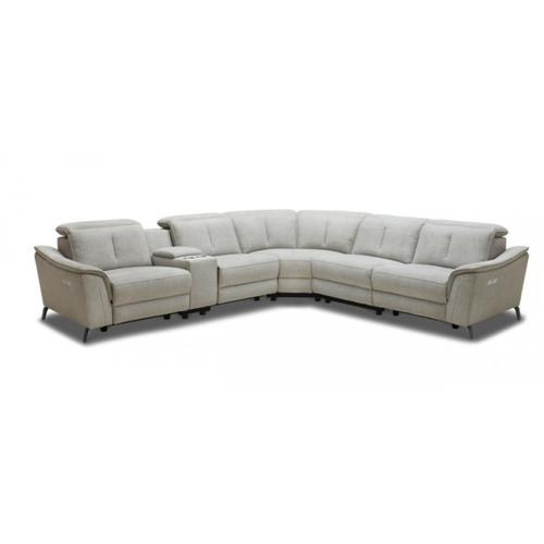 VIG Furniture - Divani Casa Lloyd - Modern Grey Fabric Sectional with Recliners + Console
