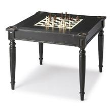 See Details - Play a variety of games on this stylish table that is veneered with basswood. The top inset has a game board for chess and checkers. Flip the inset over and it converts to a green felt-lined blackjack table. Remove the insert altogether and the well beneath the inset is a backgammon game board. Four glass holders on each corner. Chess and other game pieces shown are not included.
