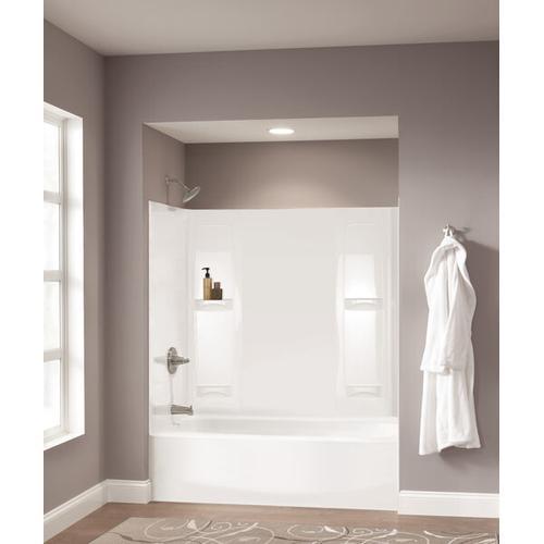 """High Gloss White 60"""" x 30"""" Curved Bathtub - Left Drain"""