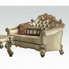 ACME Vendome II Loveseat w/3 Pillows - 53121 - Bone PU & Gold Patina