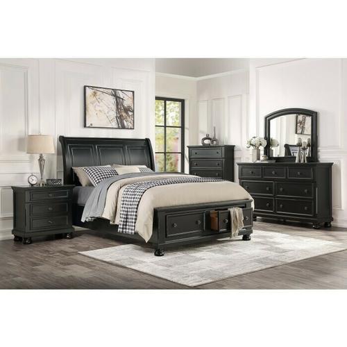 Homelegance - California King Sleigh Platform Bed with Footboard Storage