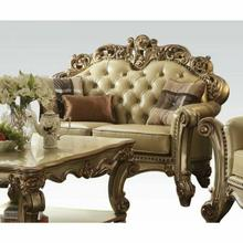ACME Vendome Loveseat w/3 Pillows - 53001 - Bone PU & Gold Patina