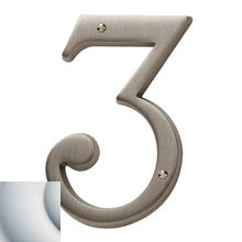 Satin Chrome House Number - 3