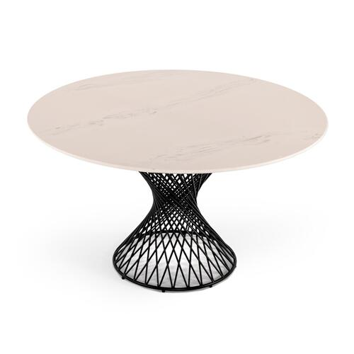 VIG Furniture - Modrest Joyce Modern Round White Cultured Marble Dining Table