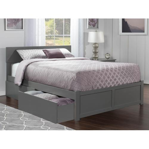 Orlando Queen Flat Panel Foot Board with 2 Urban Bed Drawers Atlantic Grey