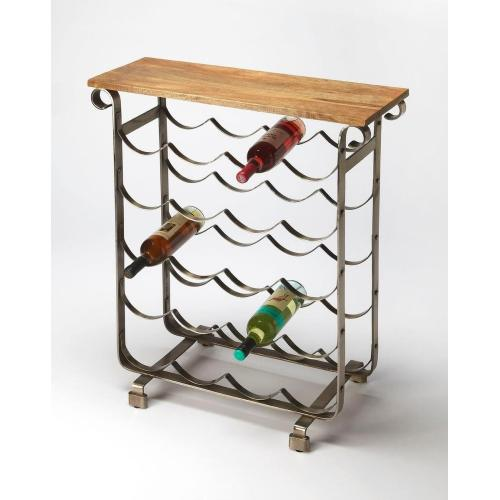 Butler Specialty Company - With a look evoking a classic Napa winery, this wine rack with a mango wood top is a charming addition to your entertaining arsenal. Made from metal and wood with a brushed finish look, this table and rack are perfect for the kitchen, dining room, or home