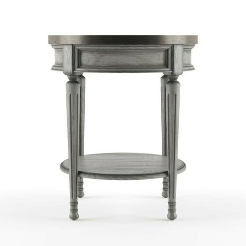 Butler Specialty Company - Adorned with four-way matched veneers, the top of this stately accent table boasts an antique brass finished gallery that matches the drawer knob. Elegantly crafted from selected solid woods and wood products.