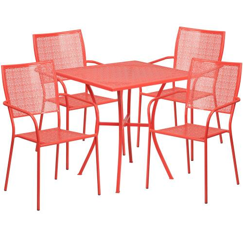 28'' Square Coral Indoor-Outdoor Steel Patio Table Set with 4 Square Back Chairs