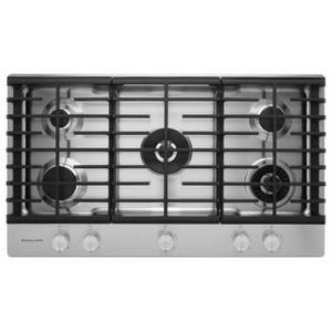"""KitchenAid36"""" 5-Burner Gas Cooktop with Griddle - Stainless Steel"""