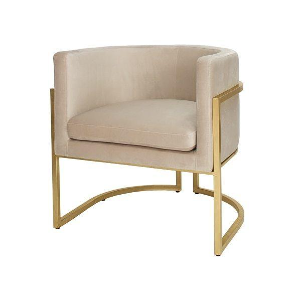 This Mid-century Modern, Barrel-back Arm Chair Dazzles From Every Angle. arcing Metal Frame Is Artfully Finished In Elegant Gold Leaf, and Luxurious, Cream-colored Velvet Upholstery Beckons Your Guests To Sit and Stay Awhile. Perfect for the Dining Room, or Pair as Occasional Chairs In Your Keeping Room. Jenna Is A Charmer In Any Setting.