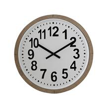 "24-1/4"" Round Wood Framed Metal Wall Clock"