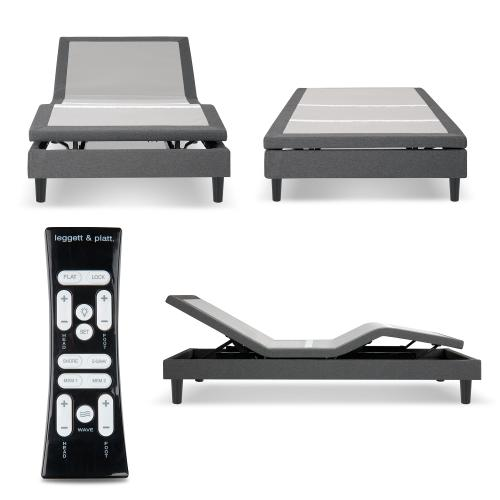 S-Cape 2.0 Adjustable Furniture-Style Bed Base with Wooden Legs and Wallhugger Technology, Charcoal Gray Finish, Full XL
