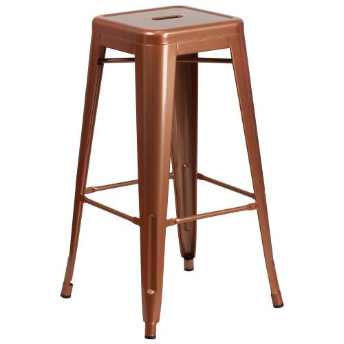 30'' High Backless Copper Indoor-Outdoor Barstool