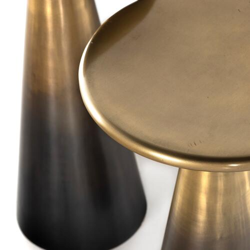 Ombre Antique Brass Finish Cameron Accent Tables, Set of 2