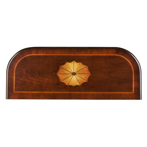 Selected solid woods, wood products and choice veneers. Features a cherry veneer top with a linen-fold inlay design of maple, walnut and cherry veneers. The top border is a cross grain cherry veneer with an inset inlay of maple veneer. Cherry veneer side