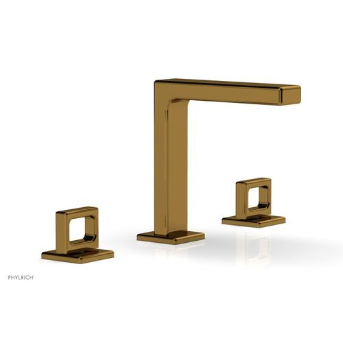"""MIX Widespread Faucet - Ring Handles 6-3/4"""" Height 290-03 - French Brass"""