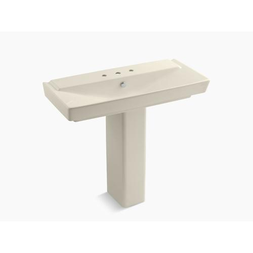 """Almond 39"""" Pedestal Bathroom Sink With 8"""" Widespread Faucet Holes"""