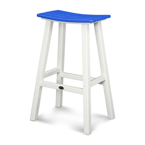 "White & Pacific Blue Contempo 30"" Saddle Bar Stool"