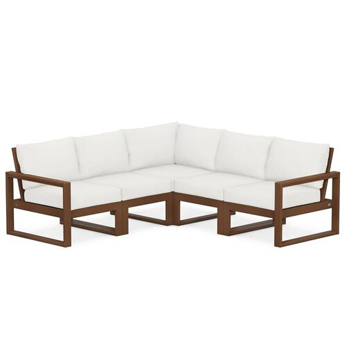 Polywood Furnishings - EDGE 5-Piece Modular Deep Seating Set in Teak / Natural Linen
