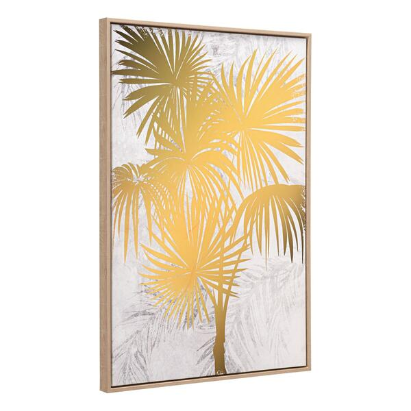See Details - Gulf Fern Canvas Wall Art Gold & White