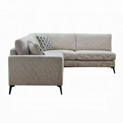 ACME Crocosmia Sectional Sofa (2 Pillows) - 53100 - Beige Chenille