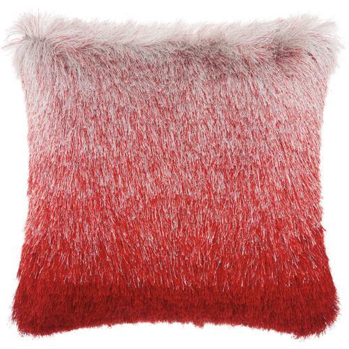 "Shag Tr011 Red/silver 20"" X 20"" Throw Pillow"
