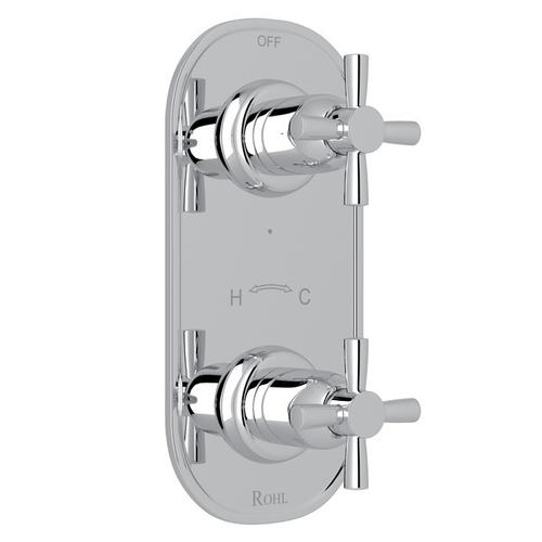 """Polished Chrome Perrin & Rowe Holborn 1/2"""" Thermostatic/Diverter Control Trim with Holborn Cross Handle"""
