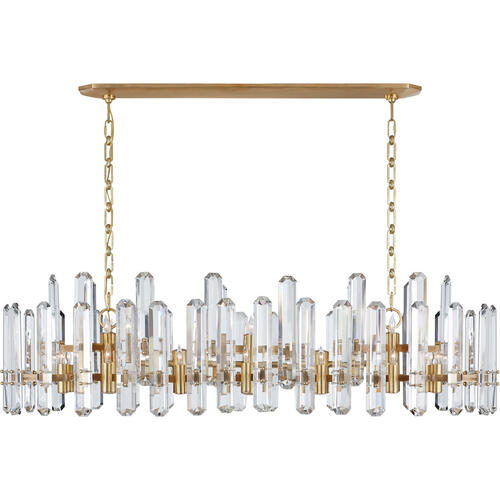 AERIN Bonnington 24 Light 55 inch Hand-Rubbed Antique Brass Linear Chandelier Ceiling Light, Large