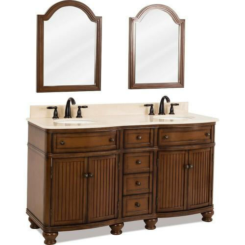 """60-1/2"""" double Walnut vanity with Antique Brushed Satin Brass hardware, bead board doors, curved front, and preassembled Cream Marble top and 2 oval bowls"""