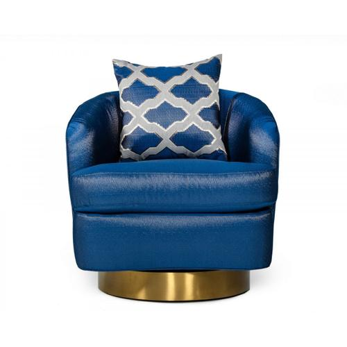 Gallery - Modrest Niagra - Glam Blue and Gold Fabric Accent Chair